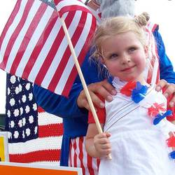 girl dressed in celebratory clothing for the 4th
